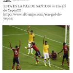 Tuit de Uribe publicado hoy reclama que era gol de Yepes